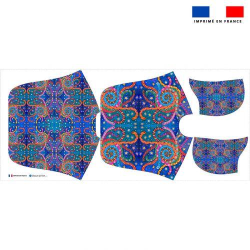 Patron imprimé sur tissu éponge pour poncho de bain motif serpent - Création Lita Blanc