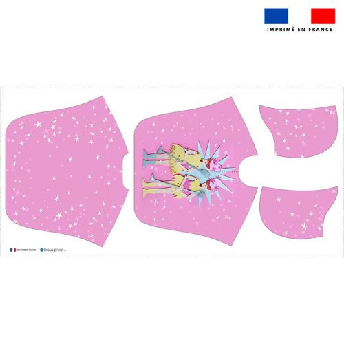 Patron imprimé sur tissu éponge pour poncho de bain motif girly pink - Création Lita Blanc