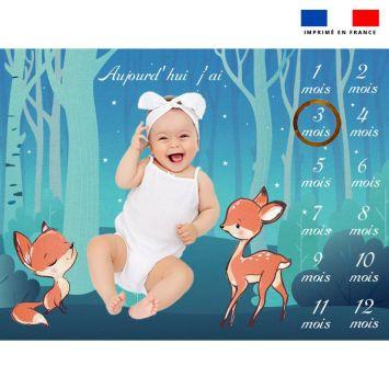 Coupon 100x75 cm pour couverture mensuelle bébé motif animaux des bois