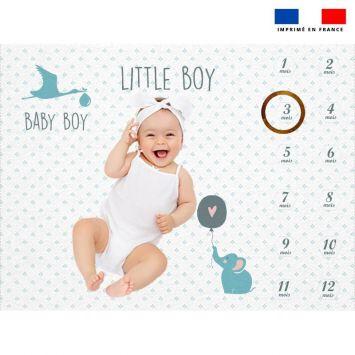 Coupon 100x75 cm pour couverture mensuelle bébé motif baby bleu