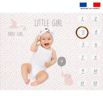 Coupon 100x75 cm pour couverture mensuelle bébé motif baby rose