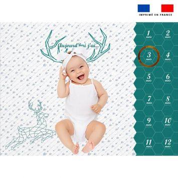Coupon 100x75 cm pour couverture mensuelle bébé motif cerf