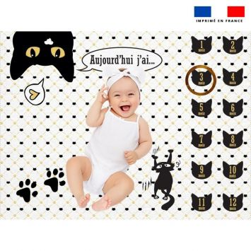 Coupon 100x75 cm pour couverture mensuelle bébé motif chat