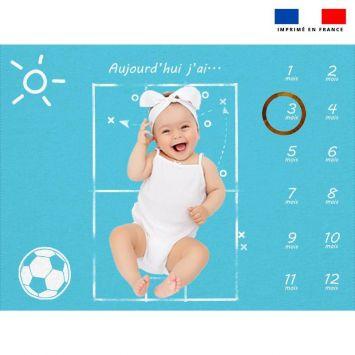 Coupon 100x75 cm pour couverture mensuelle bébé motif football
