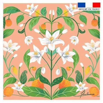Coupon 45x45 cm rosé motif orangé - Création Julia Amorós