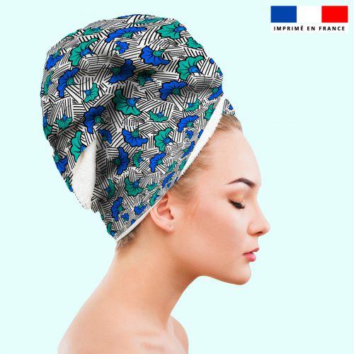 Coupon éponge pour serviette turban cheveux blanche motif fleur de mariage bleue et verte wax