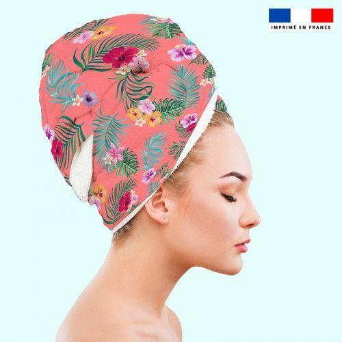 Coupon éponge pour serviette turban cheveux motif fleur tropicale corail