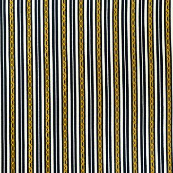 coupon - Coupon 78cm - Tissu viscose bleu nuit motif rayure et chaine