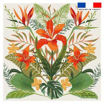 coupon - Coupon 45x45 cm beige motif bouquet de lys - Création Julia Amorós - Velours 322 gr/m²