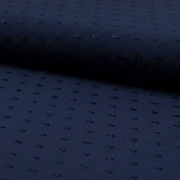 coupon - Coupon 43cm - Tissu viscose plumetis bleu marine