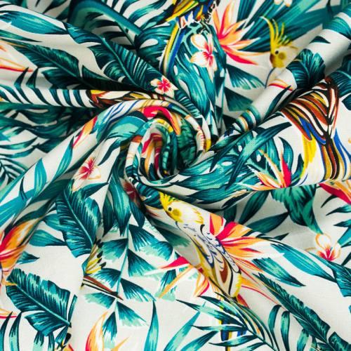 Toile coton couleur lin motif oiseaux des îles
