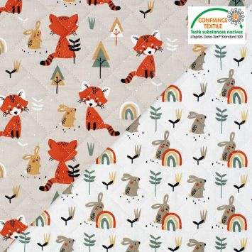 coupon - Coupon 68cm - Tissu matelassé enfant grège réversible motif renard et lapin padwan Oeko-tex