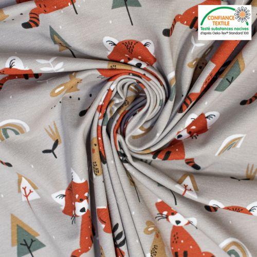 coupon - Coupon 84cm - Jersey grège motif renard et lapin padwan Oeko-tex