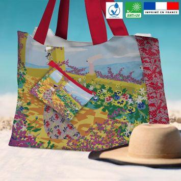 Kit sac de plage imperméable motif jardin au bord de mer - Queen size - Création Julia Amoros