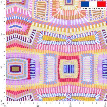 coupon - Coupon 80cm - Formes abstraites géométriques colorées effet peinture - Fond rose - Création Lita Blanc - Mousseline crêpe 75 gr/m² - 145 cm