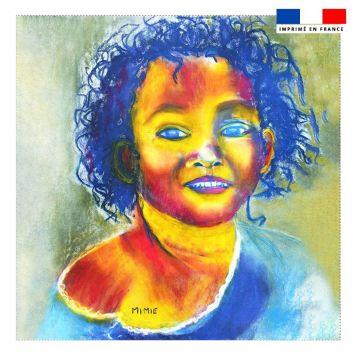 Coupon 45x45 cm motif petite fille aux cheveux frisés - Création Mimie