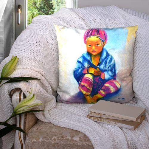 Coupon 45x45 cm motif petite fille aux cheveux roses - Création Mimie