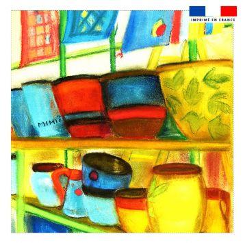 Coupon 45x45 cm motif vases - Création Mimie