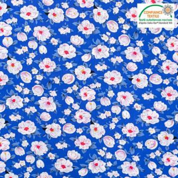 coupon - Coupon 41cm - Popeline de coton bleu motif pivoine blanche Oeko-tex