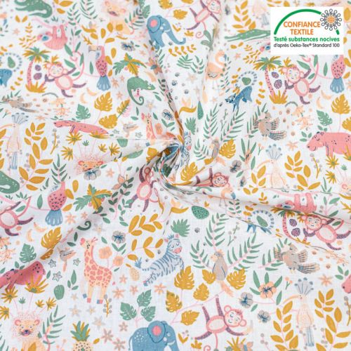 Popeline de coton blanc motif animaux de la jungle Oeko-Tex