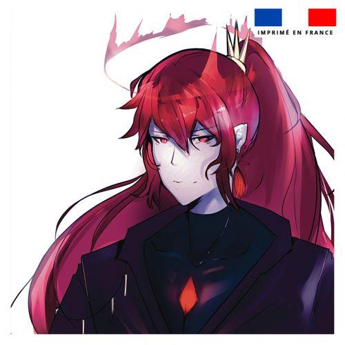 Coupon 45x45 cm motif personnage manga cheveux rouges - Création Ereba