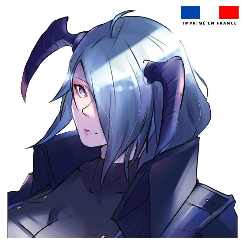 Coupon 45x45 cm motif personnage manga cornes bleues - Création Ereba