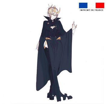 Coupon 45x45 cm motif personnage manga cornes jaunes - Création Ereba