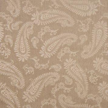 Tissu velours milleraies incrusté motif cachemire beige