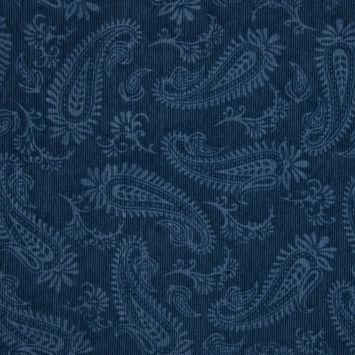 Tissu velours milleraies incrusté motif cachemire bleu jean