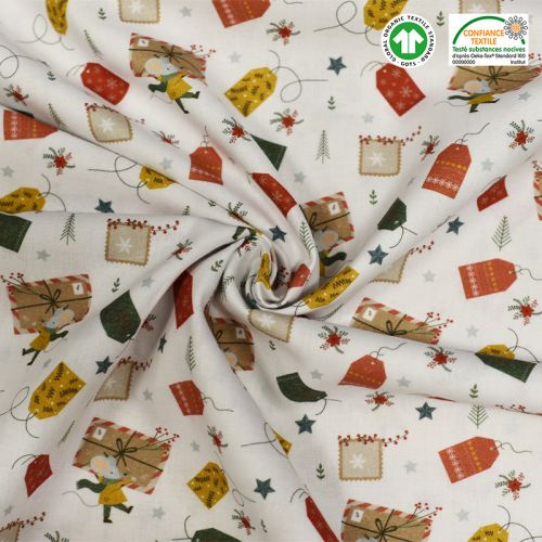 Coton bio blanc motif cadeaux Oeko-tex
