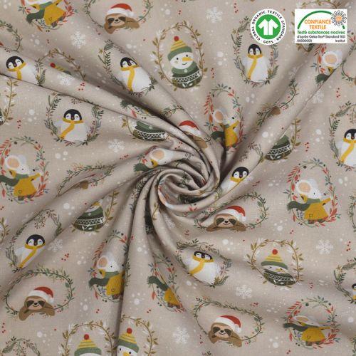 Coton bio grège motif animaux de Noel Oeko-tex