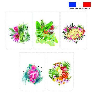 Lot de 5 essuie-mains en éponge motif summer paradise