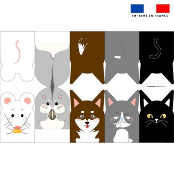 Kit mini-gants nettoyants motif animaux domestiques