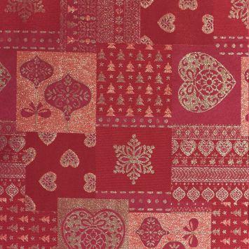 Jacquard rouge motif coeur doré