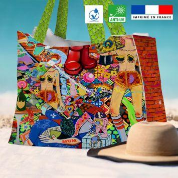 Kit sac de plage imperméable motif vanityfair - Queen size - Création Khosravi