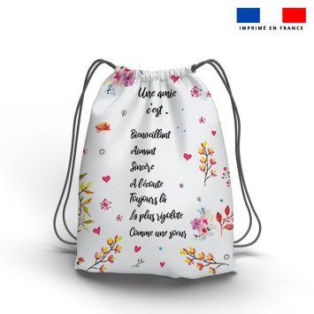 Kit sac à dos coulissant motif amie