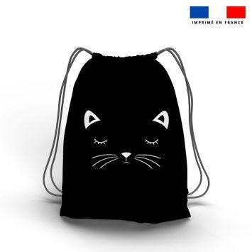 Kit sac à dos coulissant motif chat noir