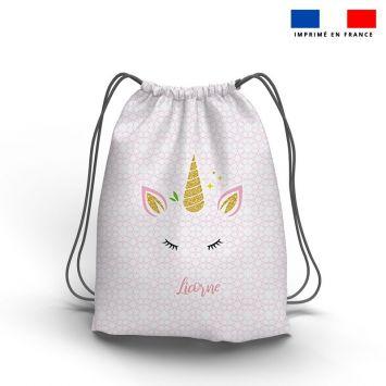 Kit sac à dos coulissant motif licorne