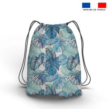 Kit sac à dos coulissant motif feuille de monstera