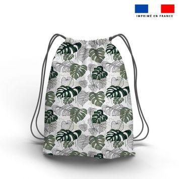 Kit sac à dos coulissant motif jungle vert