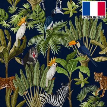 coupon - Coupon 245cm - Velours bleu marine imprimé jungle et animaux - Velours 322 gr/m² - 140 cm