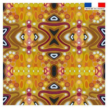 Coupon 45x45 cm motif abstrait miroir jaune - Création Lita Blanc