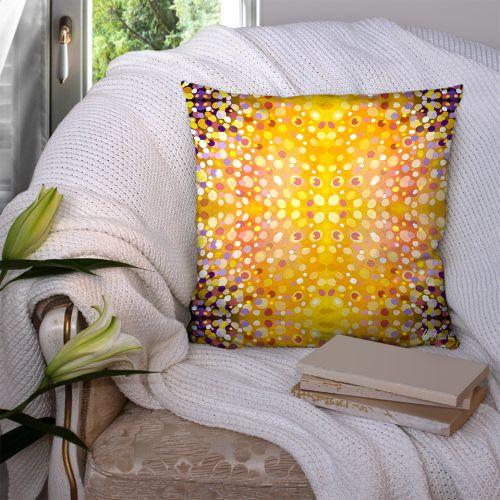 Coupon 45x45 cm motif confetti jaune - Création Lita Blanc
