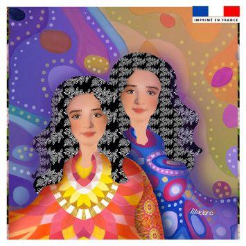 Coupon 45x45 cm motif diva duo lina - Création Lita Blanc