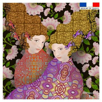 Coupon 45x45 cm motif diva duo gigi - Création Lita Blanc