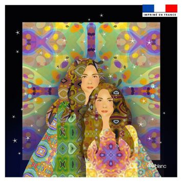 Coupon 45x45 cm motif diva duo fond noir - Création Lita Blanc
