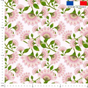 Fleur rose - Fond blanc - Création Lita Blanc