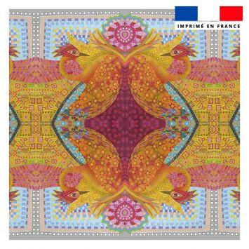 Coupon 45x45 cm motif oiseau ethnique - Création Lita Blanc