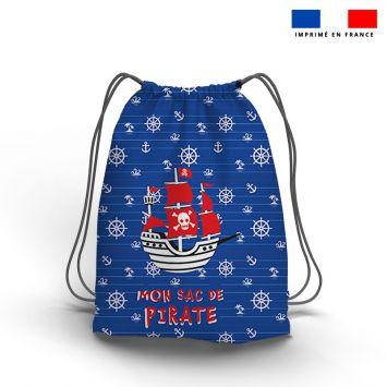 Kit sac à dos coulissant motif pirate