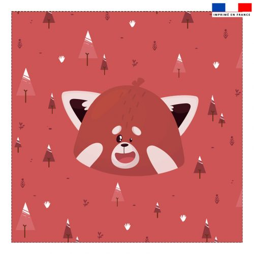 Coupon 45x45 cm motif panda roux rouge recto